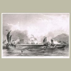 Antique Etching with Chinese Scene at Pearl River Delta