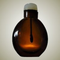 Antique Peking Glass Snuff Bottle with Jade Stopper