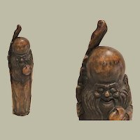 Antique Chinese Wooden Figure of Shou Lao The God of Longevity