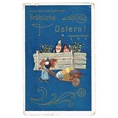 Art Nouveau Easter Postcard Lithographed