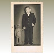 Boy with his Teddy Bear Vintage Photo-postcard