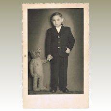 Boy with his Teddy Bear Vintage Photo-postcard