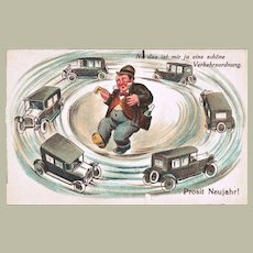 Tipsy Man and Limousines Vintage Postcard New Year