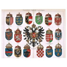 Austria-Hungarian Empire Coat of Arms Lithograph
