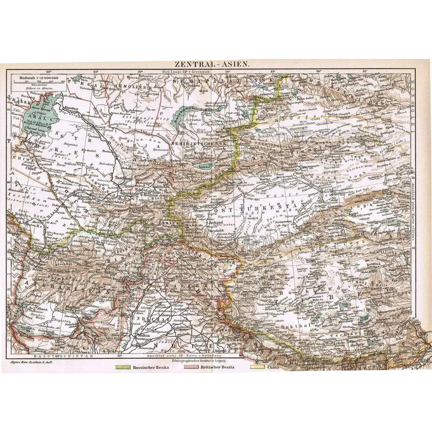 Map Of Asia 1900.Antique Map Of Cental Asia From 1900