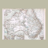 Australia Antique Lithographed Map