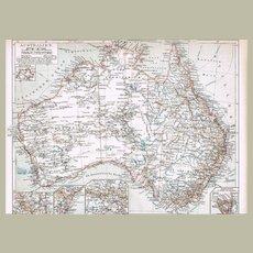 Australia Antique Lithographed Map