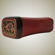 Old Traditional Chinese Opium Leather Pillow with Lacquer Surface