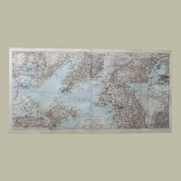 Yellow Sea Countries Antique Lithographed Map 1900