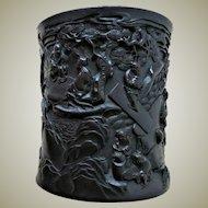 Antique Chinese Hard Wood Brush Pot