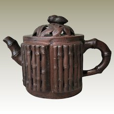 Decorative old Chinese Yixing Teapot Bamboo Deco