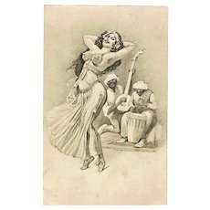 Antique Postcard with Belly Dancer and Special Date