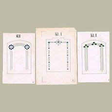 3 Authentic  hand Painted Art Nouveau Designs