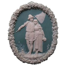 Most attractive Wedgwood Plaque with Young Couple