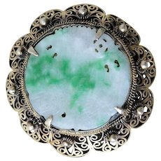 Chinese Jade Brooch in Silver Fitting