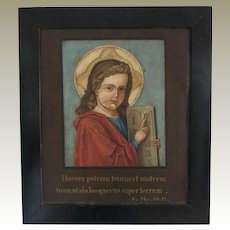 Decorative 19 ct Painting with Religious Motif from 1872 by German Painter