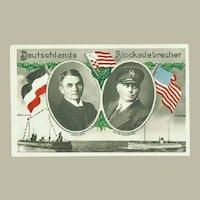German Blockade Runner. Decorative Postcard. WWI