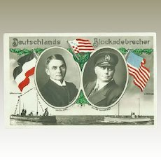 German Blockade Runner. Decorative Postcard. WWI