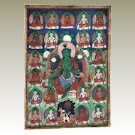 Antique Thanka Buddha Avalokiteshvara Fine Painting 19. ct