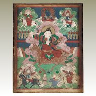 Antique Thanka Buddha an Riders Fine Painting 19. ct
