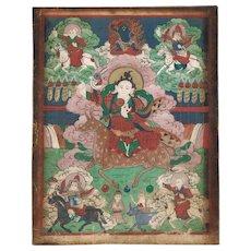 Antique Thanka Buddha an Riders Fine Painting 19. ct