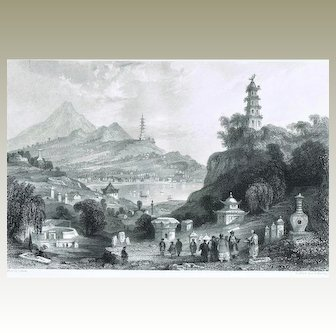 Lake See-Hoo and Temple from the Vale of Tombs, Thomas Allom Etching 19. Ct