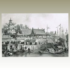 Theatre at Tien Tsin Antique Etching by Thomas Allom c 1840