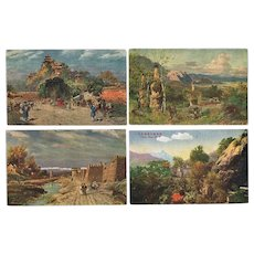 Lot of 6 Old Chinese Postcards after Paintings 1898