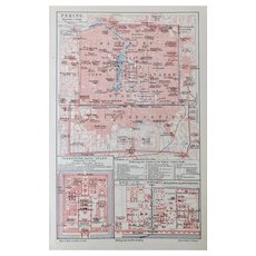 Antique Map Peking China with 3 Areas from 1900