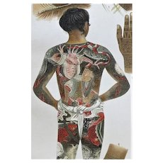 Art of Tattoos: Decorative Antique Chromo Lithograph with tattooed Bodies