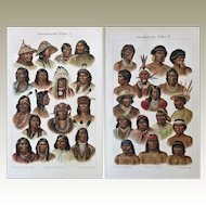 American Peoples, Indians: Two Decorative Chromo Lithographs, 1900