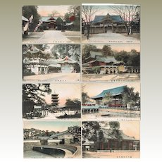 Eight Old Japanese Postcards with Temples and Shrines