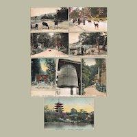 Seven Old Japanese Postcards Nara and Myazima