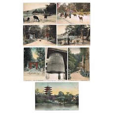 Seven Old Japanese Postcards Nara and Myazima