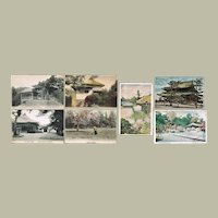 Lot of Seven old Japanese Postcards with Famous Temples and Buildings