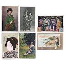 Lot of Six old Japanese Postcards with Geishas or Ladies