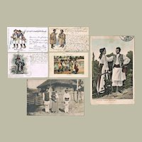 Collection of 6 Old Postcards Gypsies and Nomads c. 1910