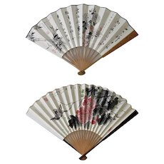 Two old Decorative Chinese Fans with Flowers and Birds
