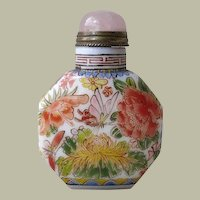 Chinese Snuff Bottled Enameled Paint Flowers