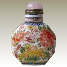 Chinese Snuff Bottled Enameled Paint Flowers