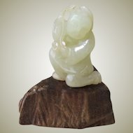 Chinese Jade Boy with Fruits Hand Carved