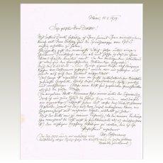 Important Artist Alfred Cossmann Letter. Vienna Kunstlerhaus Artist Autograph CoA