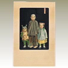 Chinese Children: Decorative, old Litho Postcard