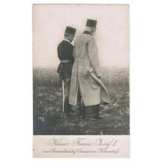 Austrian Emperor Francis Joseph and von Hoetzendorf Photo Postcard WWI