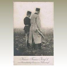 Austrian Emperor Francis Joseph and von Hoetzendorf Photo Postcard WWI