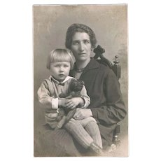 Girl with her Teddy Bear and Mother Vintage Photo from c. 1910