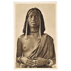 Vintage Postcard with African Beauty c. 1920