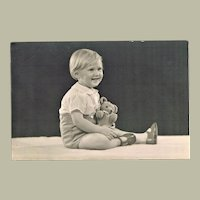 Little girl with Teddy Bear 6 x 4 Vintage Photo
