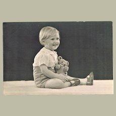 Little girl with Teddy Bear 6 x 4 Vintage Photo