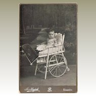 Old Cabinet Photo with Baby in unusual Wheel Chair 1910